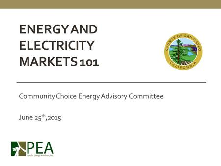 Energy and Electricity Markets 101