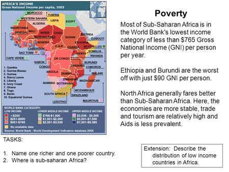 Poverty Most of Sub-Saharan Africa is in the World Bank's lowest income category of less than $765 Gross National Income (GNI) per person per year. Ethiopia.