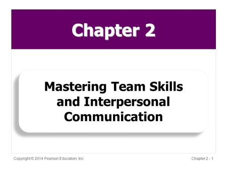 Chapter 2 Copyright © 2014 Pearson Education, Inc.Chapter 2 - 1 Mastering Team Skills and Interpersonal Communication Mastering Team Skills and Interpersonal.