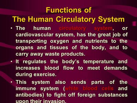 Functions of The Human Circulatory System The human circulatory system, or cardiovascular system, has the great job of transporting oxygen and nutrients.