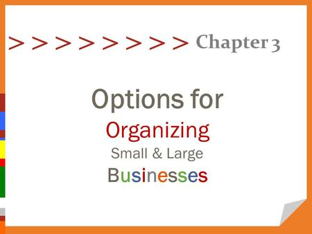 > > > > Options for Organizing Small & Large Businesses Chapter 3.