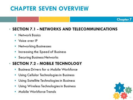 Chapter 7 7-1 CHAPTER SEVEN OVERVIEW SECTION 7.1 - NETWORKS AND TELECOMMUNICATIONS  Network Basics  Voice over IP  Networking Businesses  Increasing.