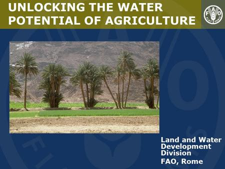Land and Water Development Division FAO, Rome UNLOCKING THE WATER POTENTIAL OF AGRICULTURE.