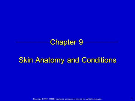 Copyright © 2007, 2004 by Saunders, an imprint of Elsevier Inc. All rights reserved. 1 Chapter 9 Skin Anatomy and Conditions.