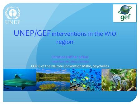UNEP/GEF interventions in the WIO region Christine Haffner Sifakis UNEP/GEF IW, Africa Portfolio COP 8 of the Nairobi Convention Mahe, Seychelles.