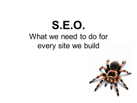 S.E.O. What we need to do for every site we build.