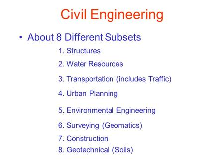 Civil Engineering About 8 Different Subsets 1. Structures
