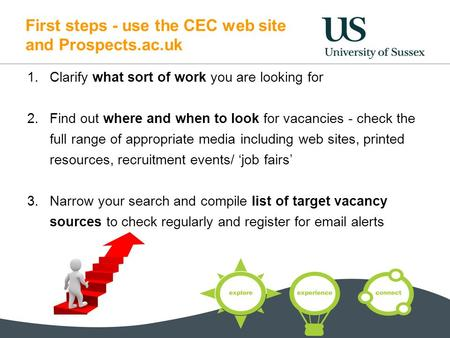 First steps - use the CEC web site and Prospects.ac.uk 1.Clarify what sort of work you are looking for 2.Find out where and when to look for vacancies.