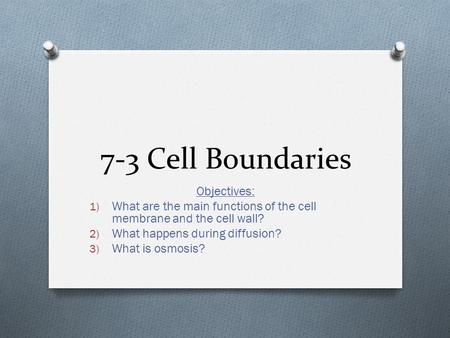 7-3 Cell Boundaries Objectives: