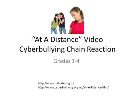 """At A Distance"" Video Cyberbullying Chain Reaction Grades 3-4"