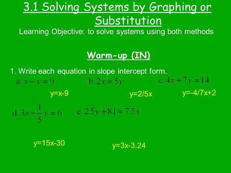 3.1 Solving Systems by Graphing or Substitution
