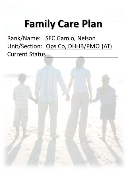 Family Care Plans Show Slide 1 Family Care Plans Ppt Video Online