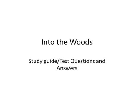 Study guide/Test Questions and Answers