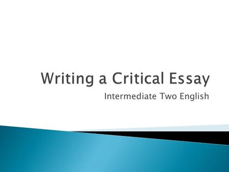 Writing a Critical Essay