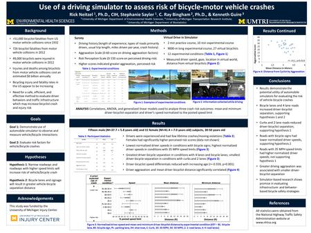 Hypothesis 1: Narrow roadways and roadways with higher speed limits will increase risk of vehicle/bicycle crash Hypothesis 2: Bicycle lanes and signage.