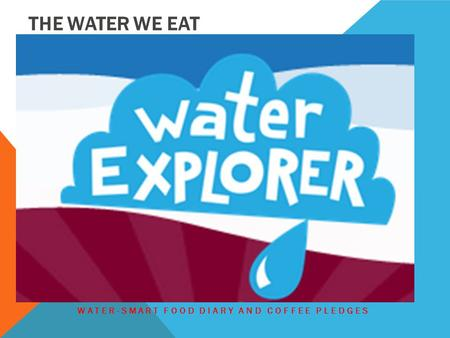 THE WATER WE EAT WATER-SMART FOOD DIARY AND COFFEE PLEDGES.
