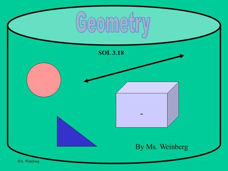 ©A. Weinberg By Ms. Weinberg SOL 3.18. ©A. Weinberg Let's learn a bit about Geometry! Geometry is a part of Math that focuses on shapes and lines. Shapes.