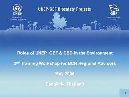 1 Roles of UNEP, GEF & CBD in the Environment 2 nd Training Workshop for BCH Regional Advisors May 2006 Bangkok, Thailand.