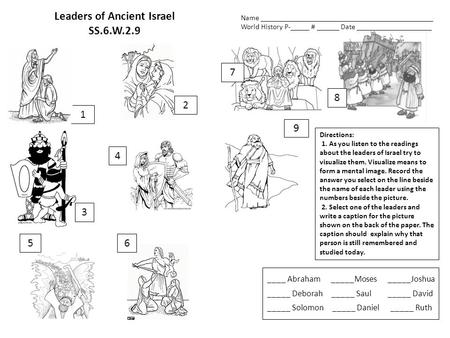 Leaders of Ancient Israel SS.6.W.2.9 Directions: 1. As you listen to the readings about the leaders of Israel try to visualize them. Visualize means to.