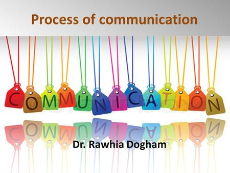 Process of communication 1 Dr. Rawhia Dogham. 2 1.List importance of communication in health care 2.Discuss the process of communication 3.