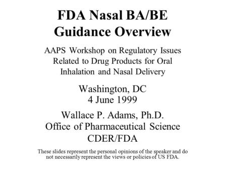 FDA Nasal BA/BE Guidance Overview