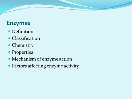 Enzymes Definition Classification Chemistry Properties