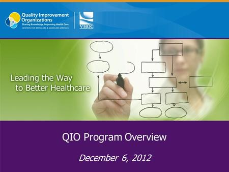 QIO Program Overview December 6, 2012. About VHQC Private, non-profit healthcare consulting and quality improvement organization More than 60 experienced.
