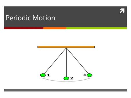  Periodic Motion.  periodic motion: are motions, which all repeat in a regular cycle  In each periodic motion, the object has one position at which.