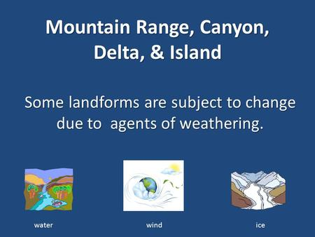Mountain Range, Canyon, Delta, & Island Some landforms are subject to change due to agents of weathering. water wind ice.