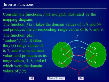Table of Contents Inverse Functions Consider the functions, f (x) and g(x), illustrated by the mapping diagram. 1 6 87 649 f The function, f (x), takes.