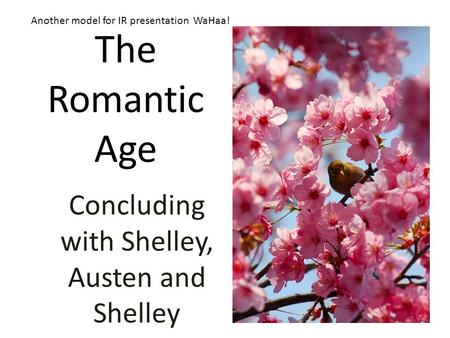 The Romantic Age Concluding with Shelley, Austen and Shelley Another model for IR presentation WaHaa!