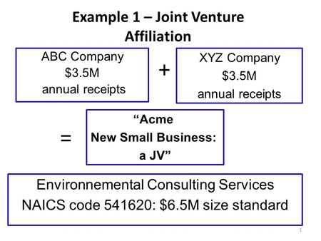 "Example 1 – Joint Venture Affiliation ABC Company $3.5M annual receipts XYZ Company $3.5M annual receipts ""Acme New Small Business: a JV"" Environnemental."