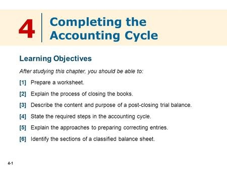 4 Completing the Accounting Cycle Learning Objectives