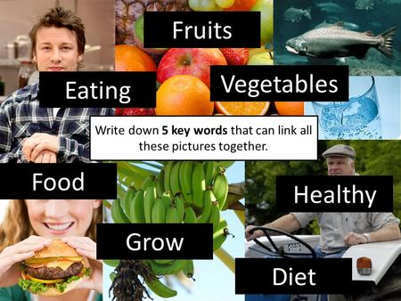 Write down 5 key words that can link all these pictures together. Food Grow Healthy Vegetables Fruits Eating Diet.