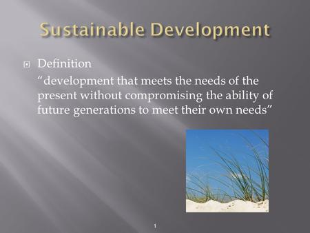 "1  Definition ""development that meets the needs of the present without compromising the ability of future generations to meet their own needs"""
