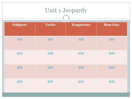 Unit 1 Jeopardy SubjectsVerbsFragmentsRun-Ons 100 200 300 400.