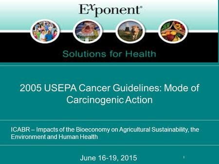 June 16-19, 2015 2005 USEPA Cancer Guidelines: Mode of Carcinogenic Action 1 ICABR – Impacts of the Bioeconomy on Agricultural Sustainability, the Environment.