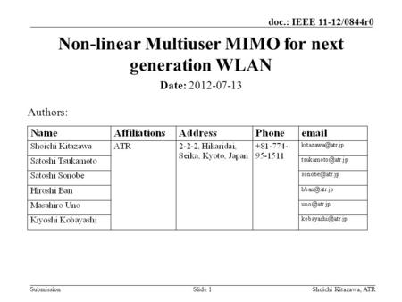Submission doc.: IEEE 11-12/0844r0 Slide 1 Non-linear Multiuser MIMO for next generation WLAN Date: 2012-07-13 Authors: Shoichi Kitazawa, ATR.