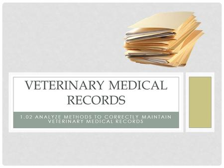 1.02 ANALYZE METHODS TO CORRECTLY MAINTAIN VETERINARY MEDICAL RECORDS VETERINARY MEDICAL RECORDS.