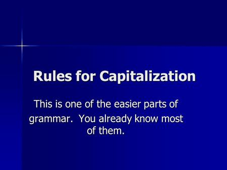 Rules for Capitalization