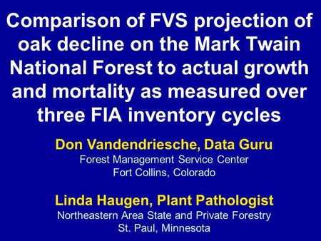 Comparison of FVS projection of oak decline on the Mark Twain National Forest to actual growth and mortality as measured over three FIA inventory cycles.