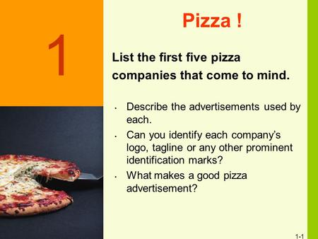 1-1 Pizza ! List the first five pizza companies that come to mind. Discussion Slide Describe the advertisements used by each. Can you identify each company's.