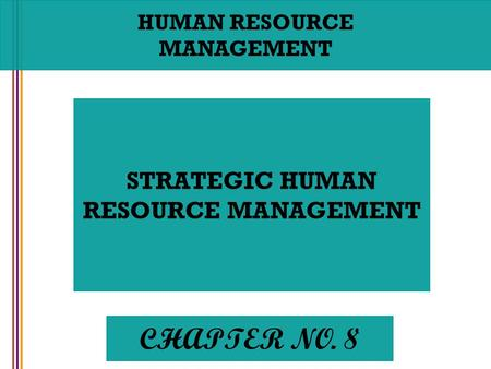 CHAPTER NO. 8 STRATEGIC HUMAN RESOURCE MANAGEMENT HUMAN RESOURCE