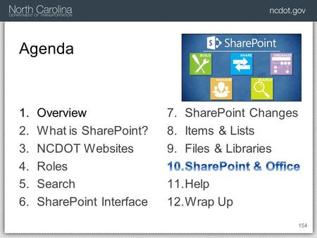 Agenda 154 1.Overview 2.What is SharePoint? 3.NCDOT Websites 4.Roles 5.Search 6.SharePoint Interface.