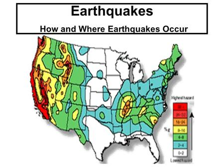 "Earthquakes How and Where Earthquakes Occur. Is there such thing as ""earthquake weather?"" Absolutely NOT!!! Geologists believe that there is no connection."