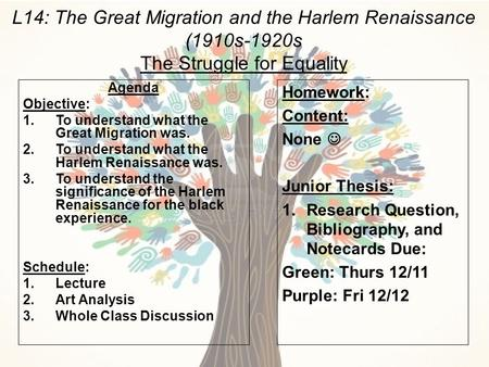 L14: The Great Migration and the Harlem Renaissance (1910s-1920s