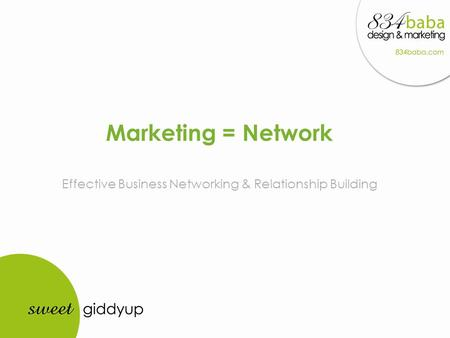 Marketing = Network Effective Business Networking & Relationship Building.