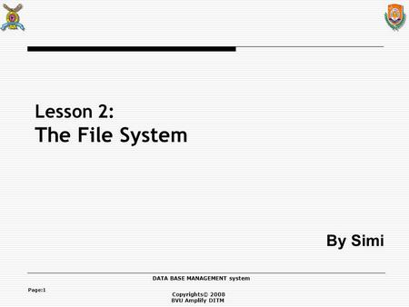 Copyrights© 2008 BVU Amplify DITM DATA BASE MANAGEMENT system Page:1 Lesson 2: The File System By Simi.