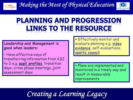 Making the Most of Physical Education Creating a Learning Legacy Leadership and Management is good when leaders: Have effective ways of transferring information.