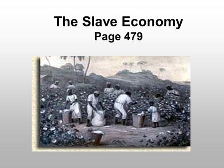 The Slave Economy Page 479. Views on Slavery Slavery had been a part of American life since colonial days. Some people thought slavery was wrong. Most.